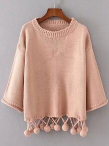 Pink Drop Shoulder Pom Pom Hem Sweater