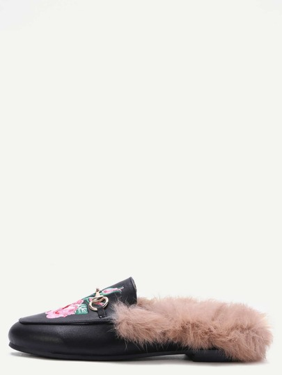 Black Rose Embroidered PU Fur Trim Loafer Slippers
