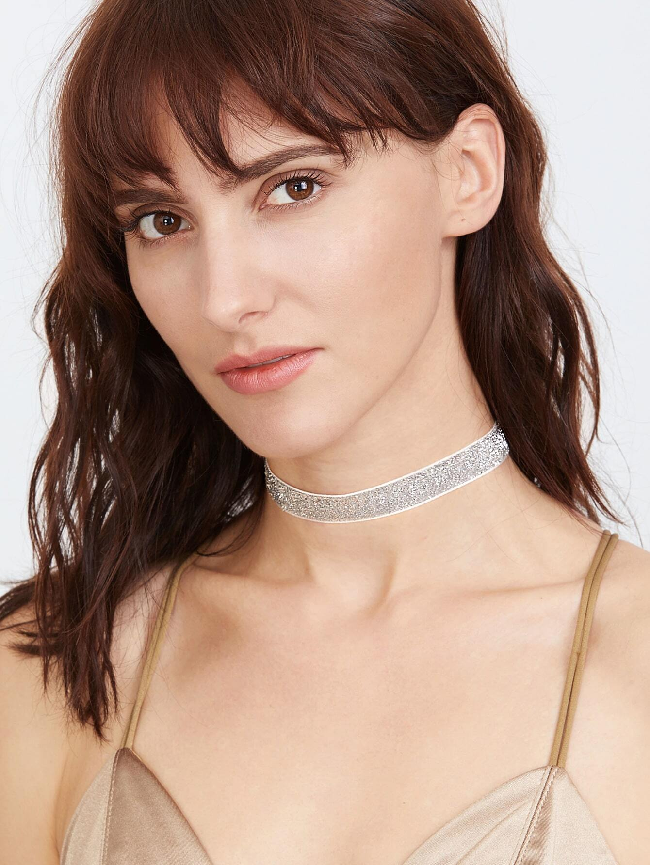 Silver Glitter Sequin Choker NecklaceSilver Glitter Sequin Choker Necklace<br><br>color: Silver<br>size: None