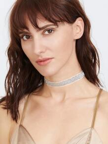 Silver Glitter Sequin Choker Necklace