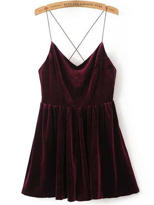 Cross Back Velvet Cami Romper handheld