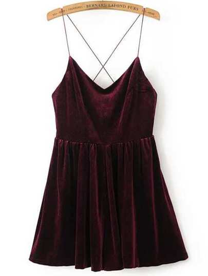 Cross Back Velvet Cami Romper