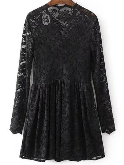 Black V Neck Lace Dress