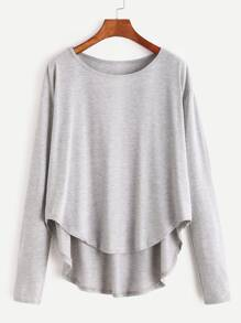 Heather Grey Drop Shoulder High Low T-shirt