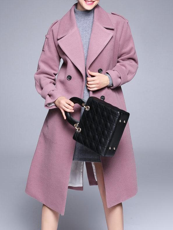 Фото Pink Lapel Tie-Waist Pockets Coat. Купить с доставкой