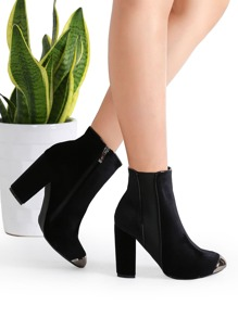 Black Velvet Point Toe Chunky Heel Ankle Boots