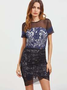 Contrast Sheer Shoulder Embroidered Lace Top With Ruched Mesh Overlay Skirt