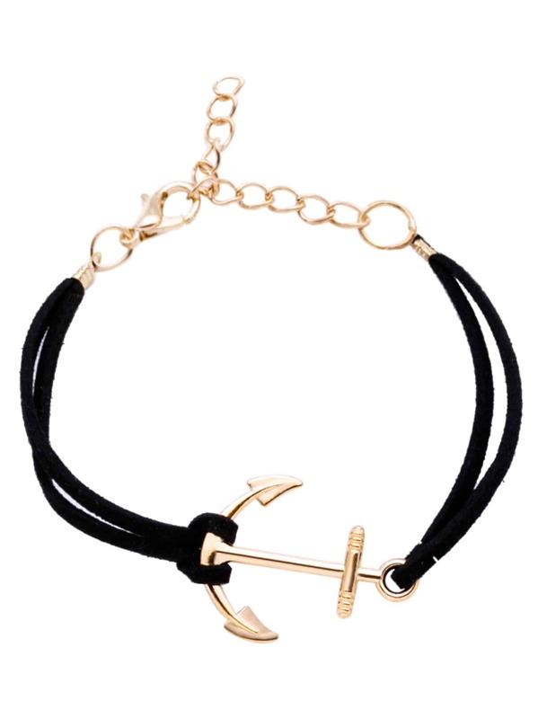 Black Anchor Charm Suede Bracelet, null
