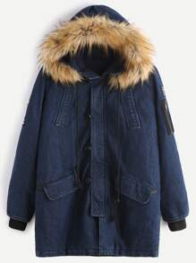 Navy Utility Denim Coat With Faux Fur Hood