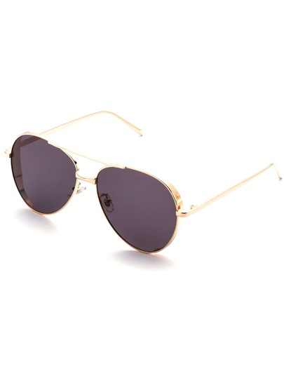 Gold Tone Grey Lens Retro Style Sunglasses