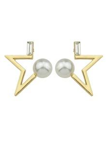 Gold Color Pearl Geometric Shape Stud Earrings