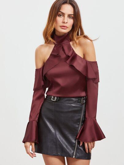 Burgundy Cold Shoulder Bell Sleeve Zipper Back Ruffle Top