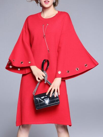 Red Batwing Sleeve Shift Dress