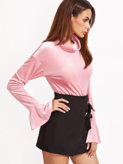 Pink Cowl Neck Bell Sleeve Velvet Blouse