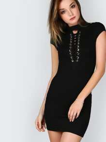 Black Eyelet Lace Up Plunge Neck Cap Sleeve Glitter Bodycon Dress