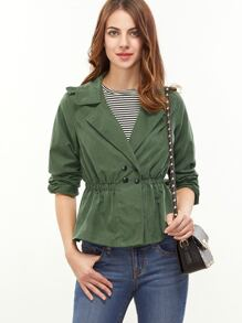 Green Notch Collar Double Breasted Elastic Waist Jacket