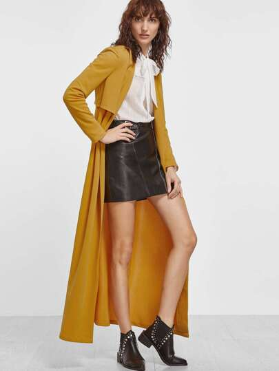 Yellow Buttoned Gun Flap Detail Layered Longline Duster Coat