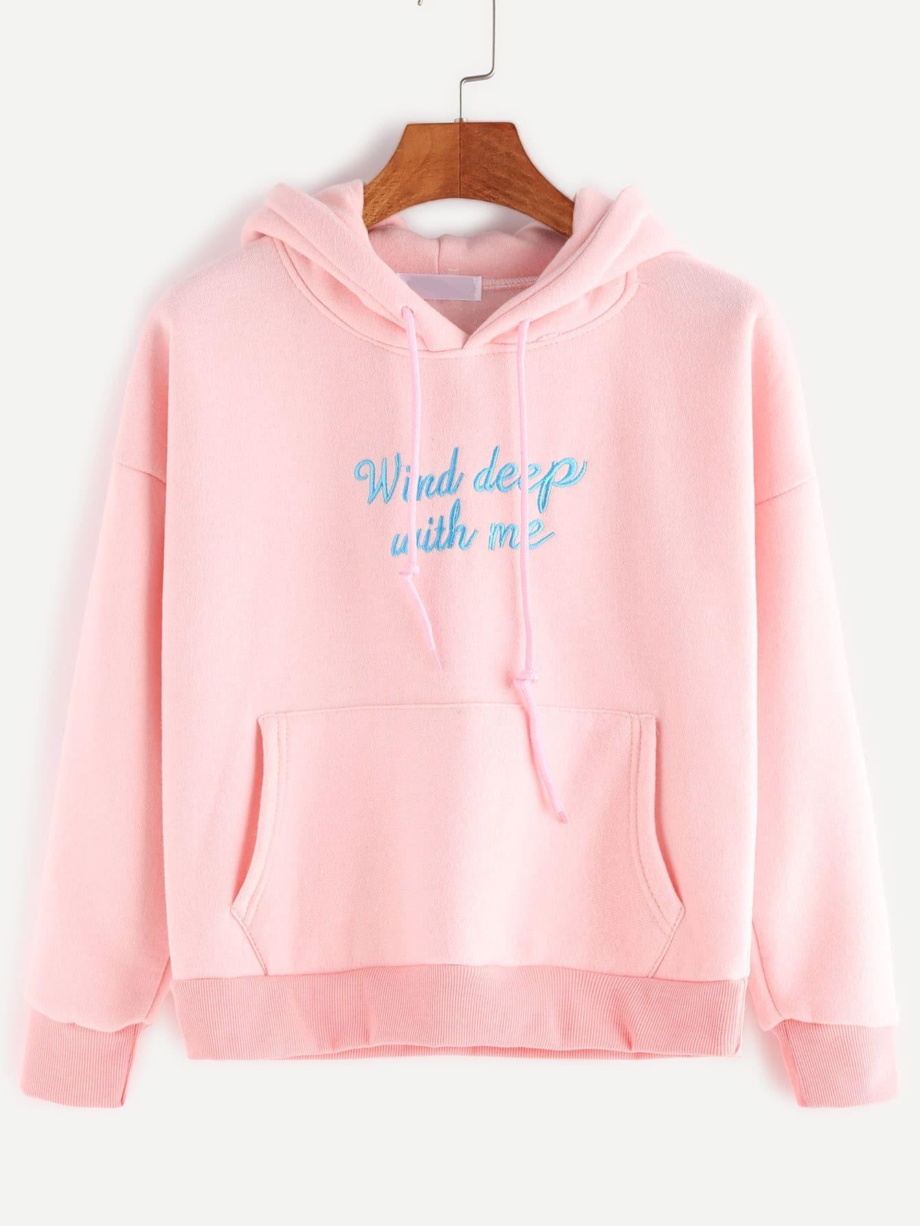 Buy Pink Hooded Drop Shoulder Letter Embroidered Pocket Sweatshirt