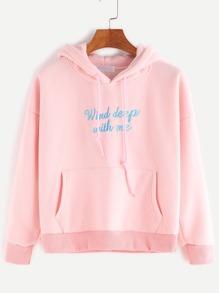 Sudadera de capucha con hombro caído con bordado de letra y bolsillo - rosa