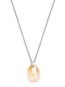 Silver Plated Shell Pendant Link Necklace