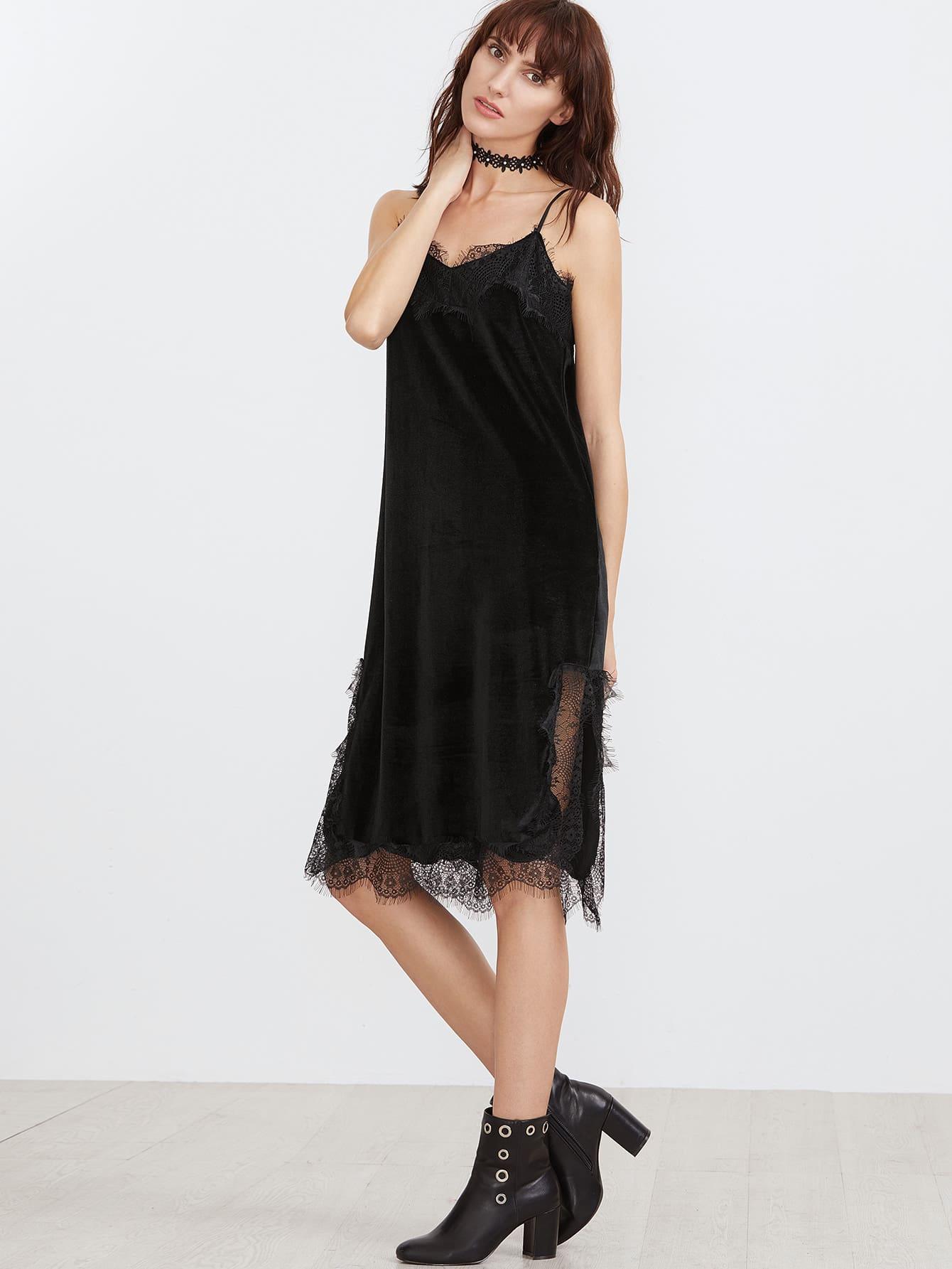 Black Lace Trim Side Slit Velvet Cami Dress dress161221453