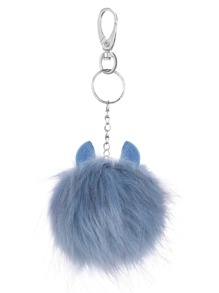 Blue Pom Pom Little Monster Pendant Keychain