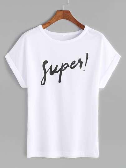 White Letter Print Roll Sleeve T-shirt