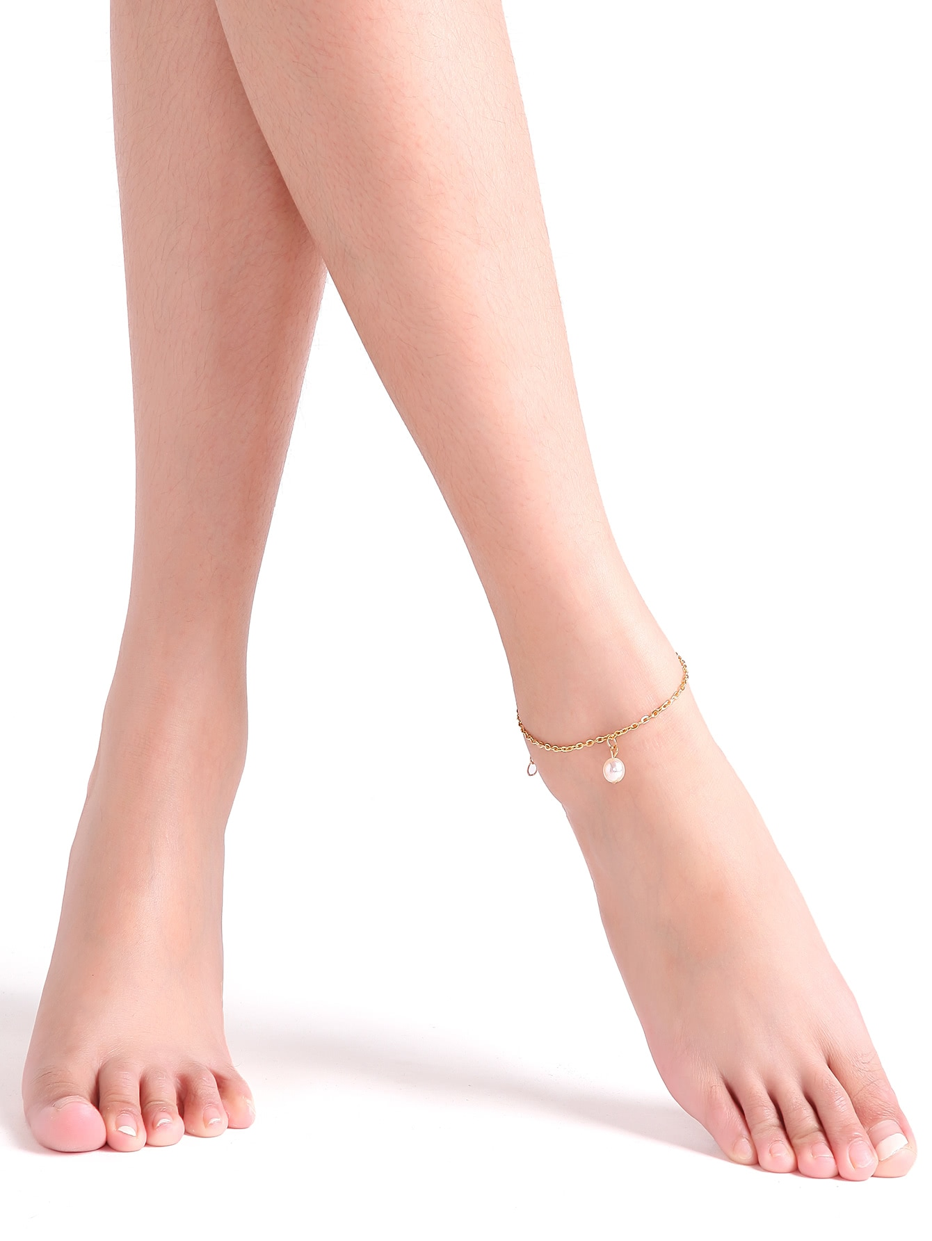 Single Faux Pearl Chain Link Anklet
