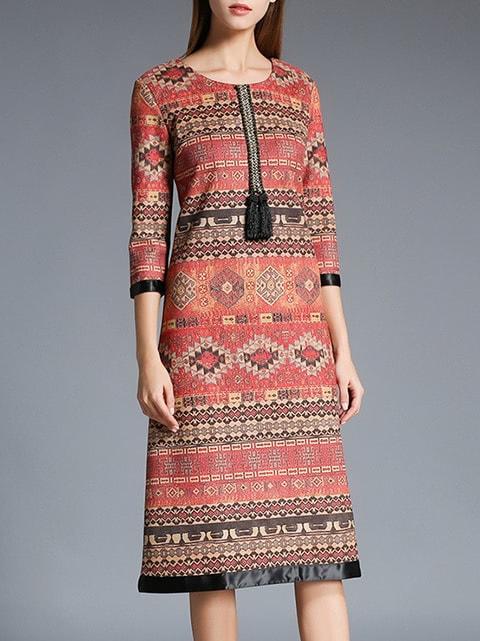 Фото Multicolor Tribal Print Shift Dress. Купить с доставкой