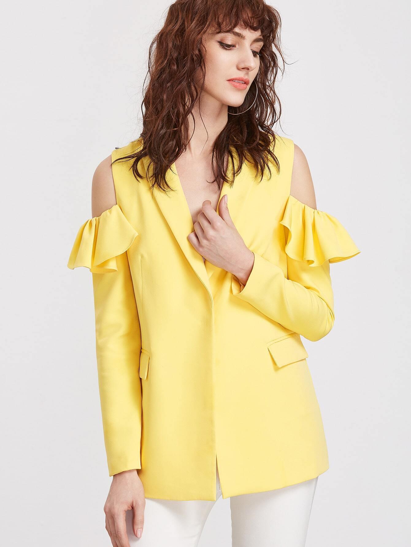 Yellow shawl collar ruffle open shoulder hidden button blazer...