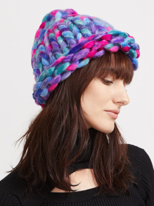 Multicolor Chunky Knit Casual Fisher Hat