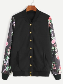 Black Rose Print Sleeve Button Up Baseball Jacket