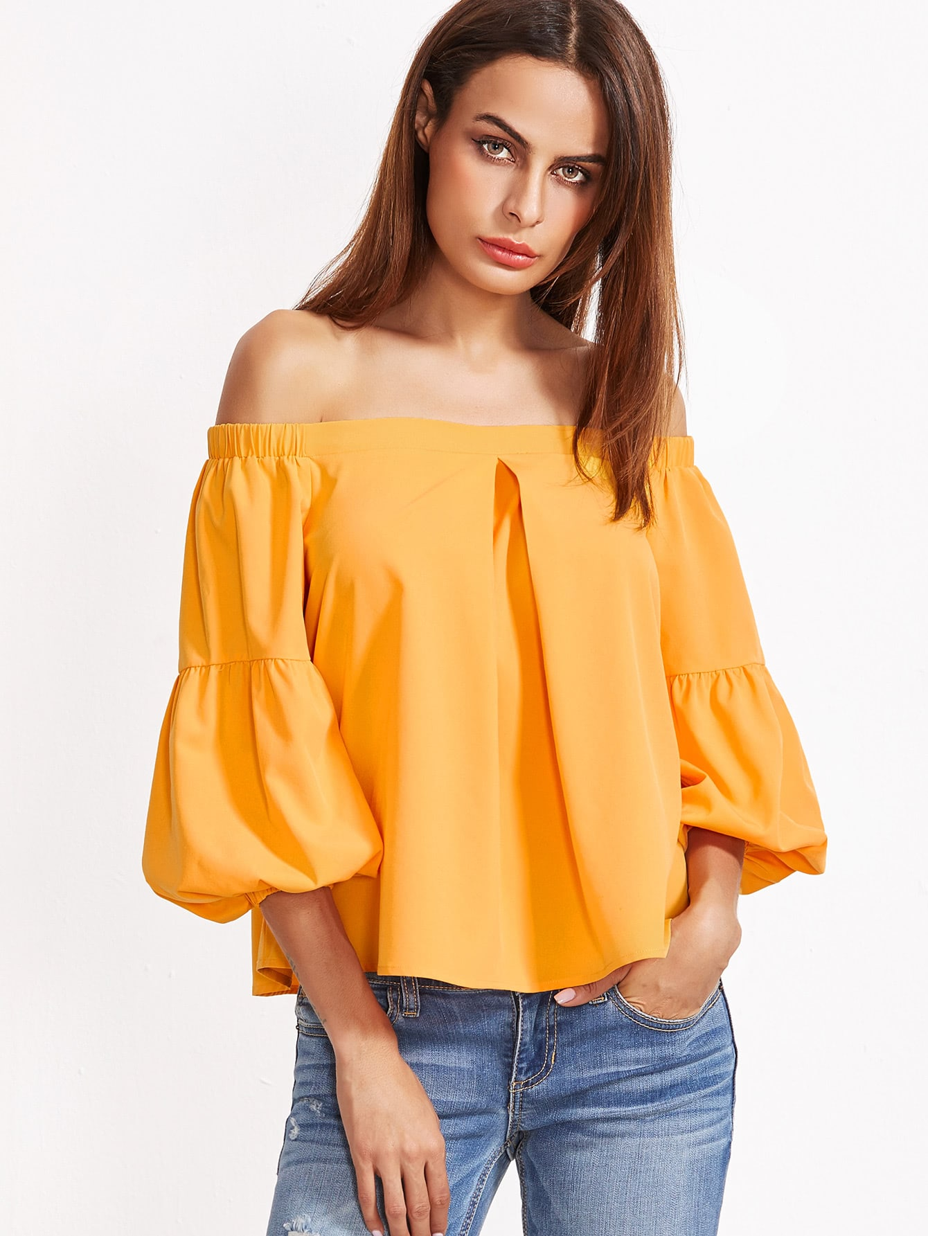 Yellow Pleated Front And Back Lantern Sleeve Off The Shoulder Top blouse161209702
