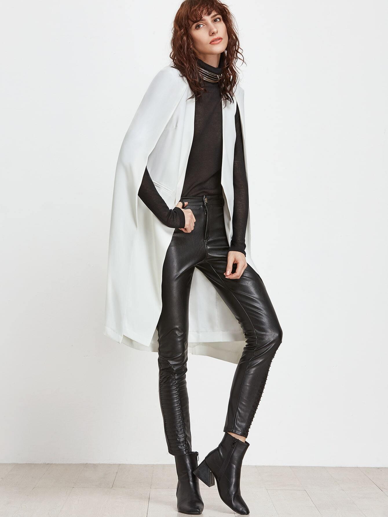 White longline open front cape blazer
