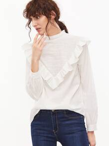 White Buttoned Back Ruffle Trim Embroidered Blouse