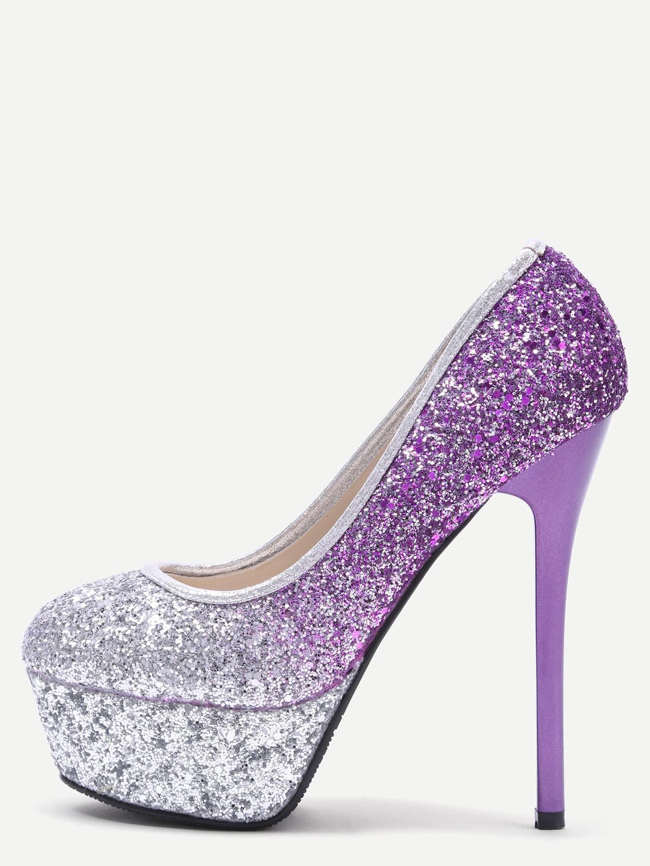 Silver and Purple Sequin Platform Stiletto Pumps shoes161207808
