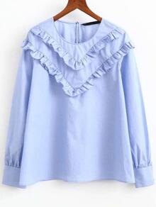 Blue Ruffle Embellished Round Neck Blouse