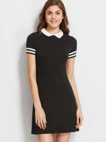 Black Contrast Collar Striped Sleeve Polo Dress