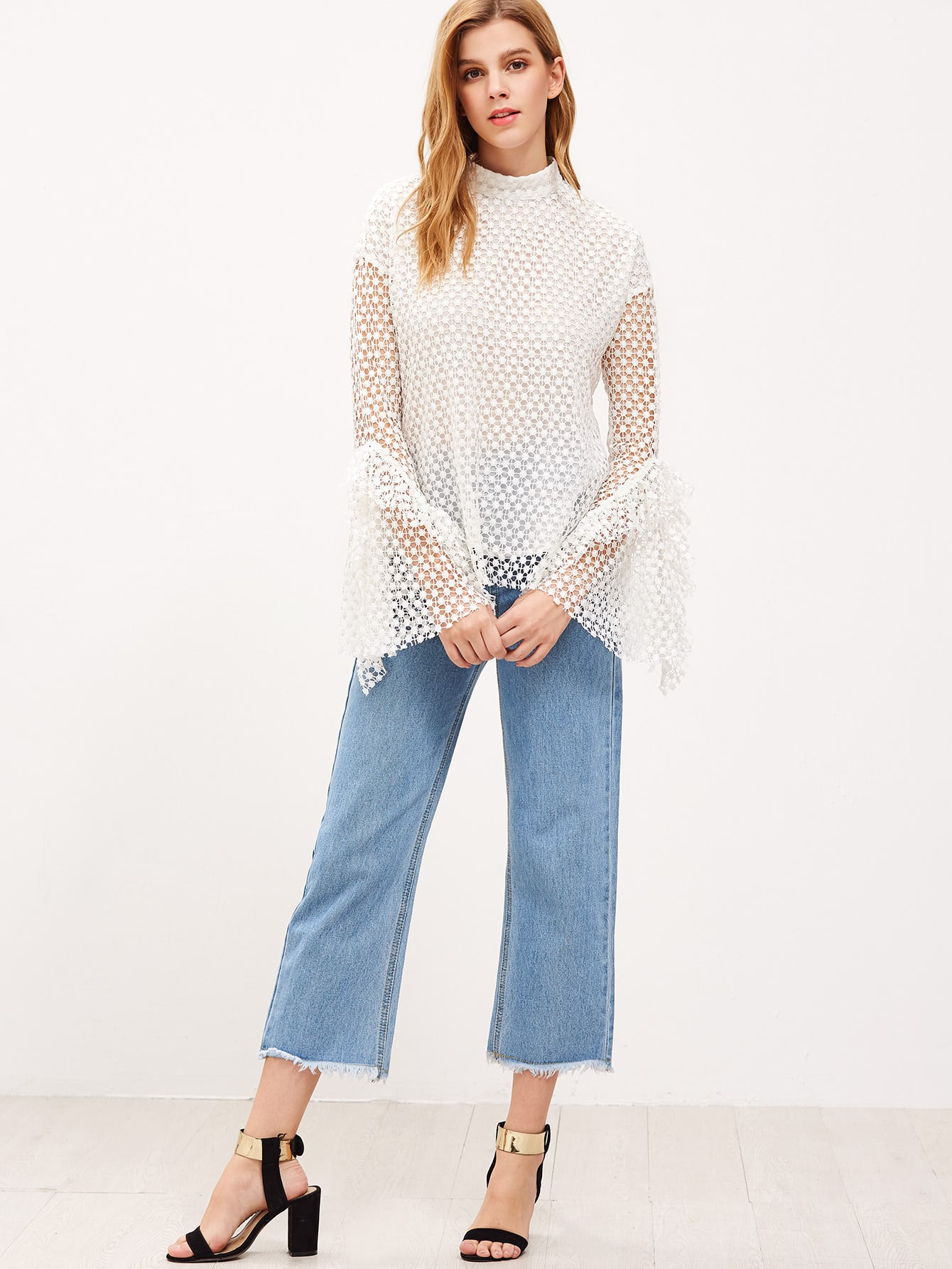 White Buttoned Keyhole Back Bell Sleeve Dotted Crochet Top