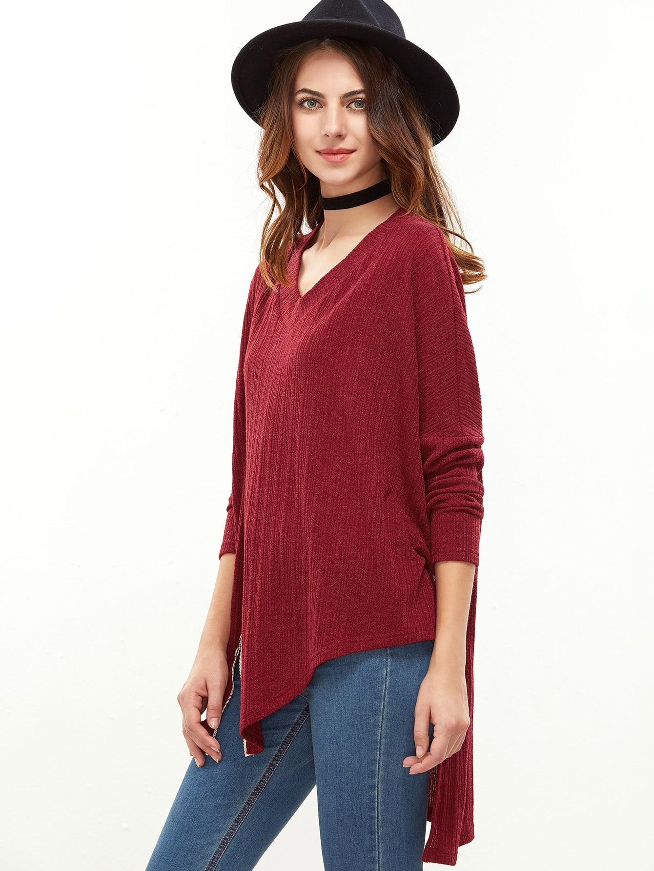 Red Drop Shoulder Zip Slit Front Asymmetric Ribbed T-shirt tee161201710