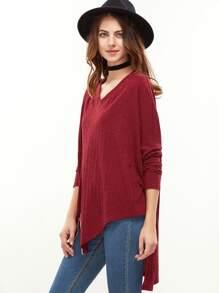 Red Drop Shoulder Zip Slit Front Asymmetric Ribbed T-shirt