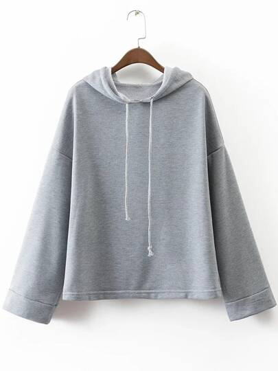 Grey Drop Shoulder Loose Hooded Sweatshirt