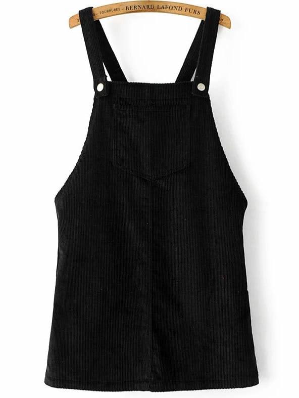 Black Corduroy Overall Dress With Pocket dress161221202