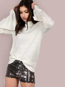 Turtleneck Belled Sleeve Knit Sweater IVORY