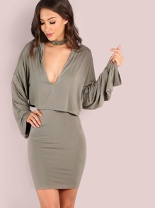 Long Sleeve Hoodie Overlay Dress OLIVE