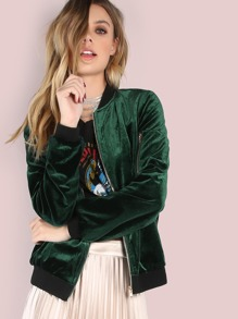 Contrast Trim Smooth Velvet Bomber Jacket
