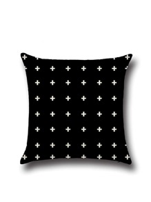 Housse de coussin croisé imprimé de lin carré -noir