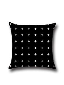 Black Cross Print Linen Square Cushion Cover
