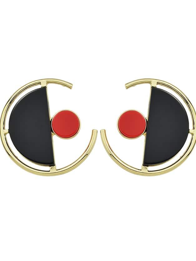 Black Color Circle Shape Large Stud Earrings