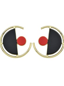 Black Color Circle Shape Large Stud Earrings